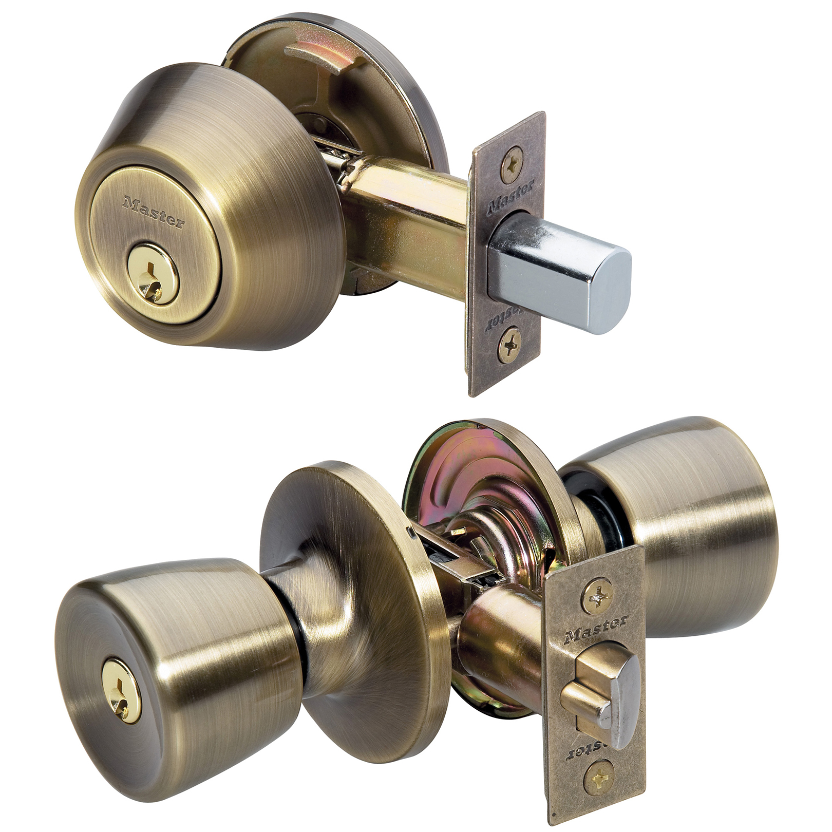 Master Lock Door Lock TUCO0605 Tulip Style Door Knob with Single Cylinder Deadbolt, Combo Pack, Antique Brass