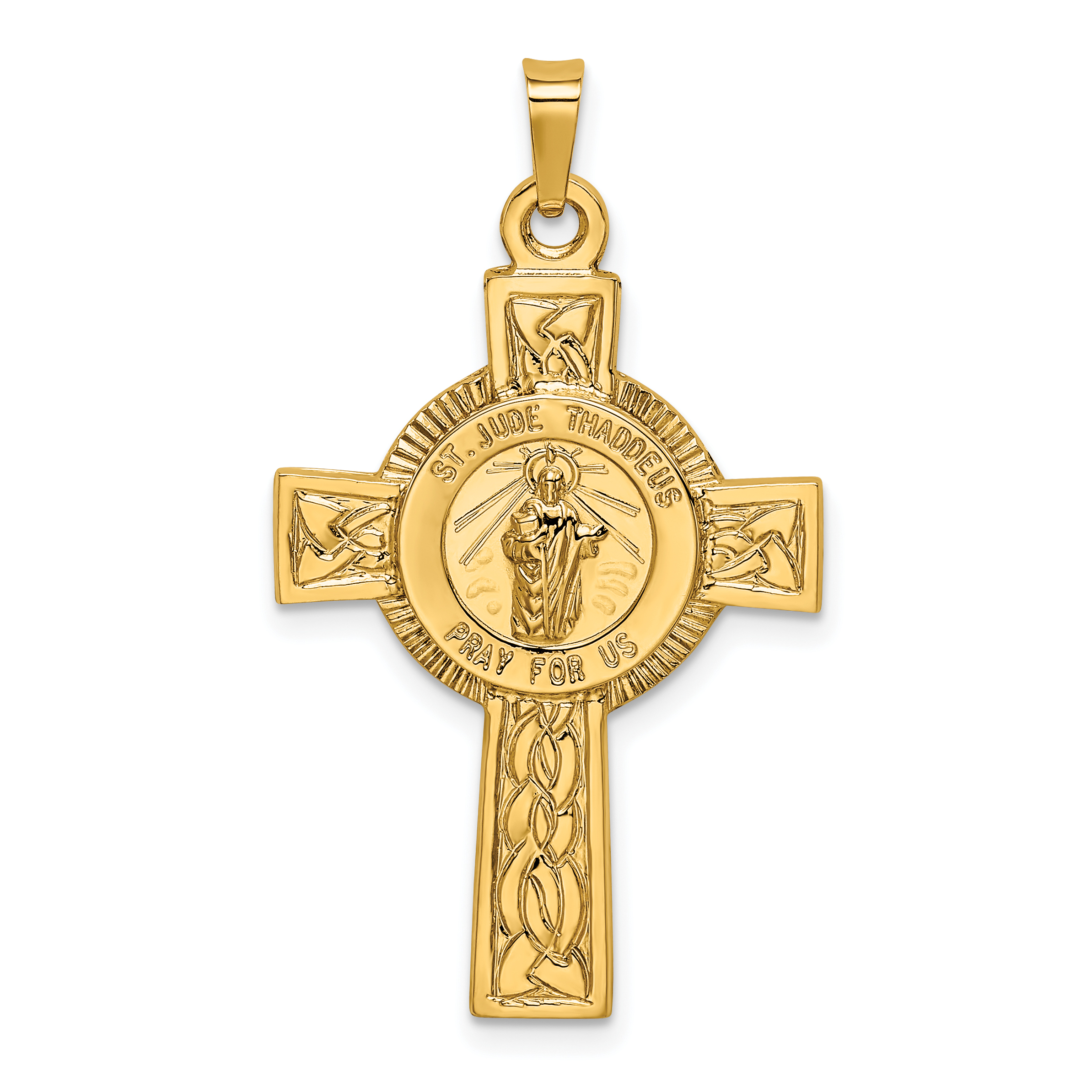 14K Yellow Gold Cross w/St. Jude Medal Pendant - image 2 de 2