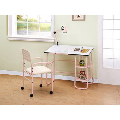 Student 3 Piece Desk, Chair and Lamp Value Bundle Set, Pink
