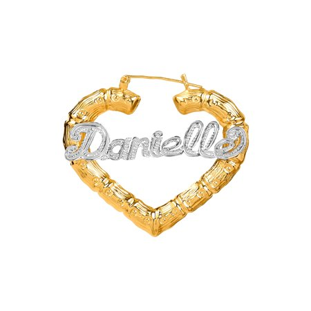 Jay Aimee Designs Sterling Silver Or Gold Plated Personalized Bamboo Style Heart Name Earrings With Beading And Rhodium All Over The