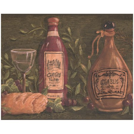 Prepasted Wallpaper Border - French Wine Bottles Cheese Baguette Sage Green Wall Border Retro Design, Roll 15 ft. x 9 in.