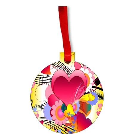 Love Music Heart and Musical Notes Round Shaped Flat Hardboard Christmas Ornament Tree Decoration - Unique Modern Novelty Tree Décor Favors](Musical Notes Decorations)