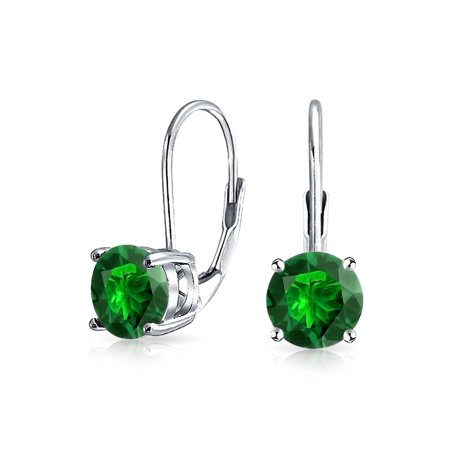 Color Drop Earrings (1 CT Solitaire Round Brilliant Cut Cubic Zirconia AAA CZ Leverback Drop Earrings 925 Sterling Silver More)