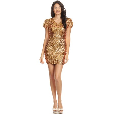 Cute Club Dresses Tumblr (Fashion Womens Short Sleeve Sequin V Neck Bodycon Mini Club)