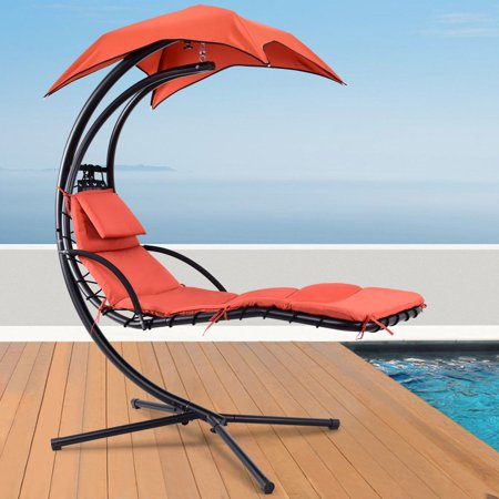 Gymax Hanging Chaise Lounger Chair Arc Stand Porch Swing Hammock Chair W/Canopy Orange ()