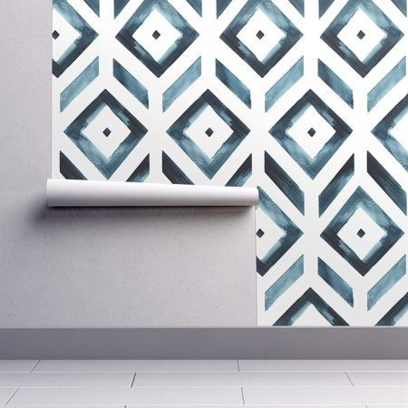 Peel And Stick Removable Wallpaper Geometric Geometric Navy Blue White Diamond