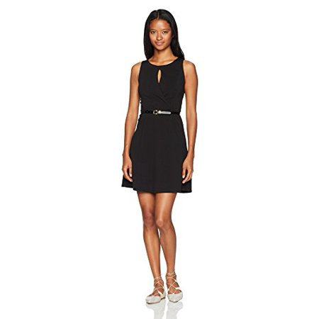 A. Byer Women's Sleeveless Fit and Flare Belted Dress, Black, 9