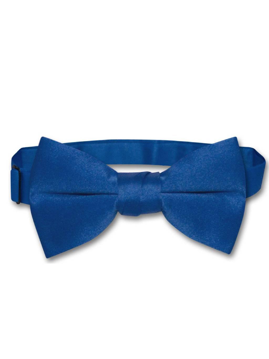 Vesuvio Napoli SELF TIE Bow Tie Solid ROYAL BLUE Color Mens BowTie