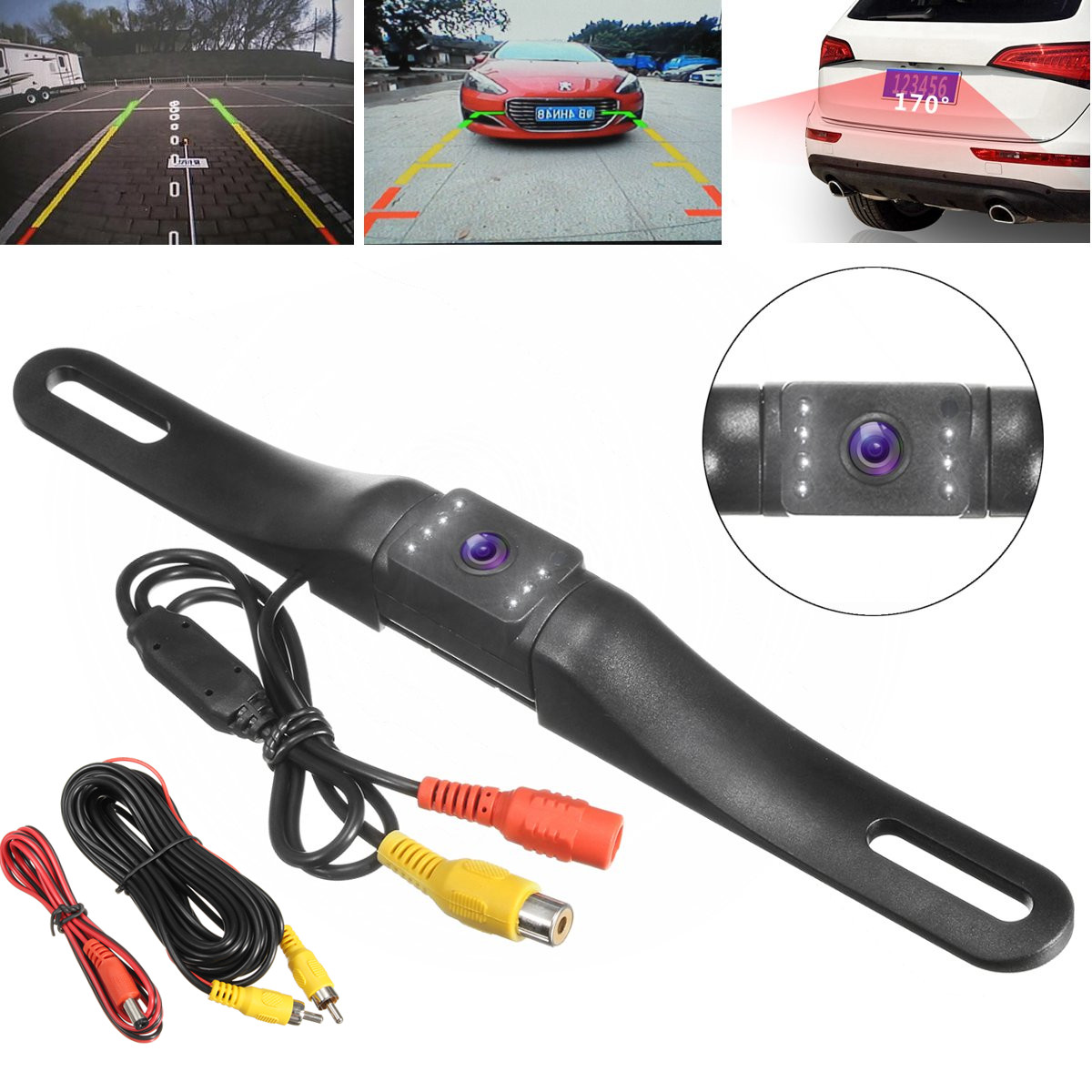 Universal  170°  Wide Angle CCD High-Definition HD Rear-View License Plate Back Up Waterproof  with 8 Infrared Night Vision LED Camera Black