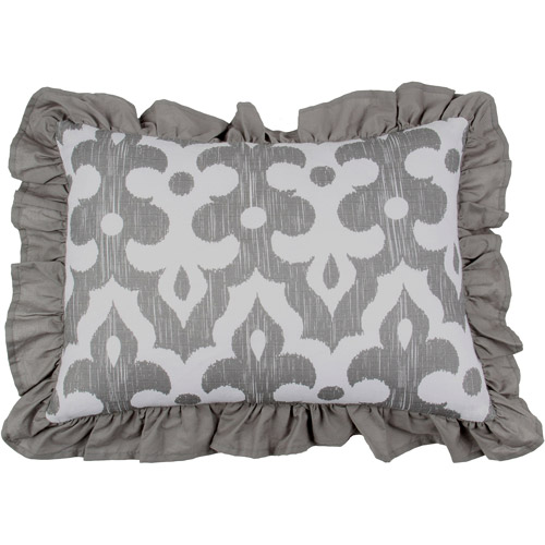 "Bacati Ikat Decorative Pillow 12""x16"" with removable 100 % Cotton cover and polyfilled pillow insert, Zigzag Grey"