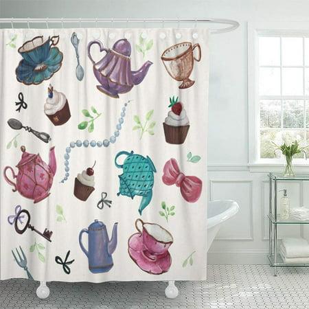 PKNMT Teatime Tea Pot Cup Cakes Leaves Ribbons Keys Spoon Elegant Time Hand Drawing Shower Curtain Bath Curtain 66x72