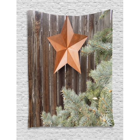 Primitive Country Decor Tapestry  Big Orange Star On Rough Wood Fences Pine Branches Print  Wall Hanging For Bedroom Living Room Dorm Decor  60W X 80L Inches  Orange Green Brown  By Ambesonne