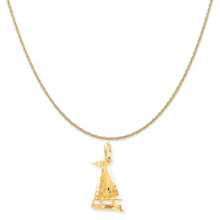 10k Yellow Gold Sailboat Charm on a 14K Yellow Gold Rope Chain Necklace, 16