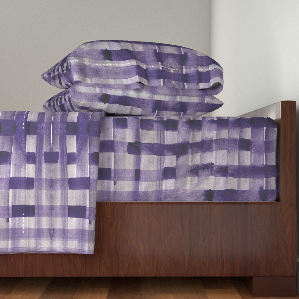Kitchen Plaid Check Purple Grape Weave 100% Cotton Sateen Sheet Set by Roostery