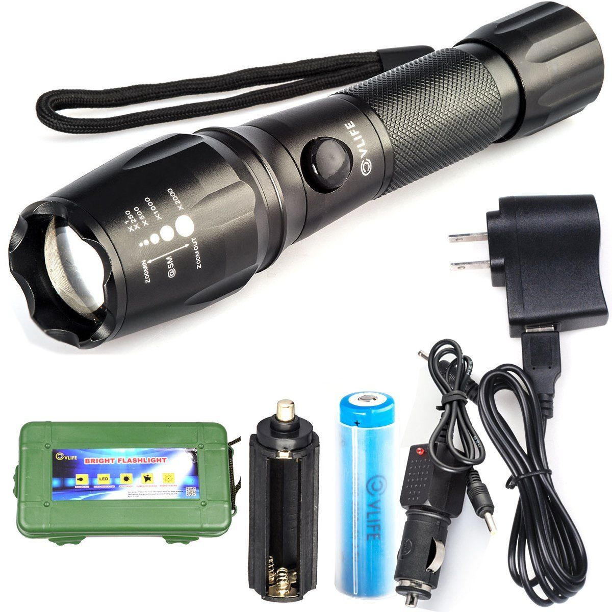 CVLIFE 800LM XML T6 LED Flashlight Rechargeable Torch 5 Modes with 18650 Battery 2 Chargers