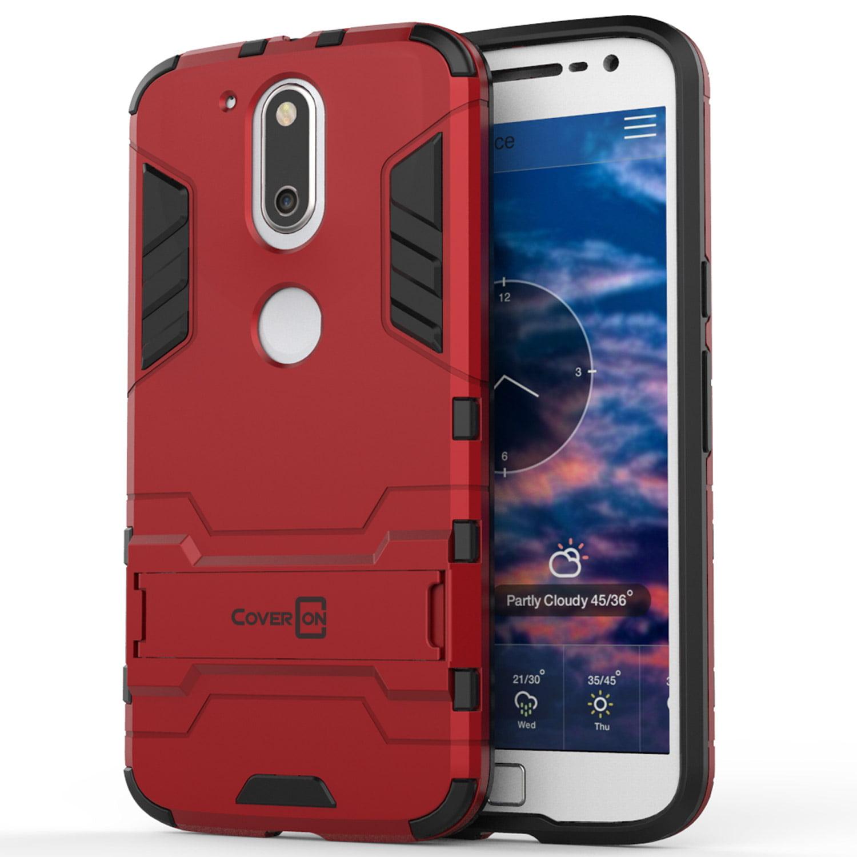 sale retailer 0fc62 2f5b7 CoverON Motorola Moto G4 Plus / Moto G4 Case, Shadow Armor Series Hybrid  Kickstand Phone Cover