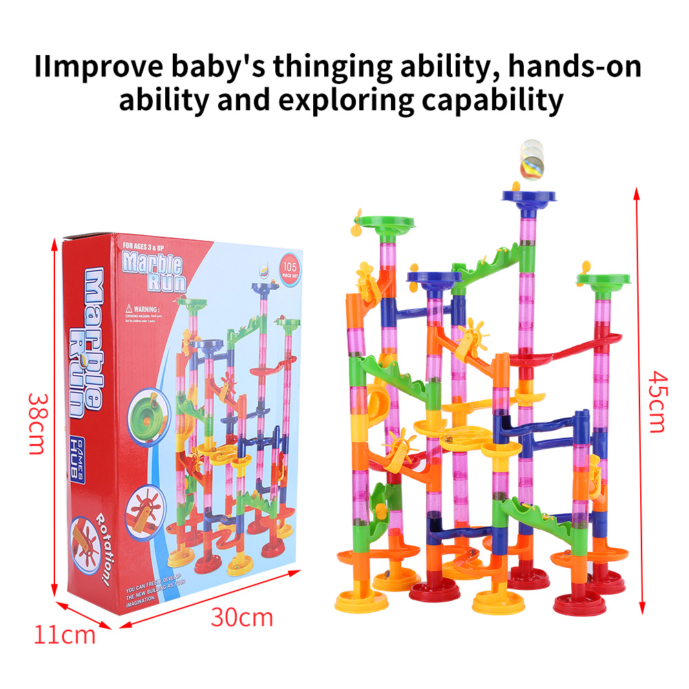Ejoyous DIY Construction Marble Race Run Maze Balls Track Building Blocks Baby Kid Gift Educational Toy, Marble maze toy,Marble building blocks toy