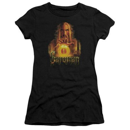 The Lord Of The Rings Movie Saruman Sauron Palantir Juniors Sheer T Shirt Tee