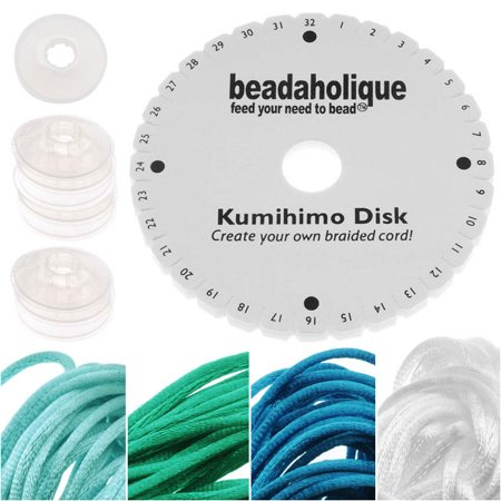 - Kumihimo Braiding Kit 'Ocean Mix'- Round Disc / Bobbins / 4 Color Satin 1mm Cord