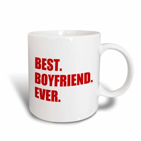 3dRose Red Best Boyfriend Ever text anniversary valentines day gift for him, Ceramic Mug,