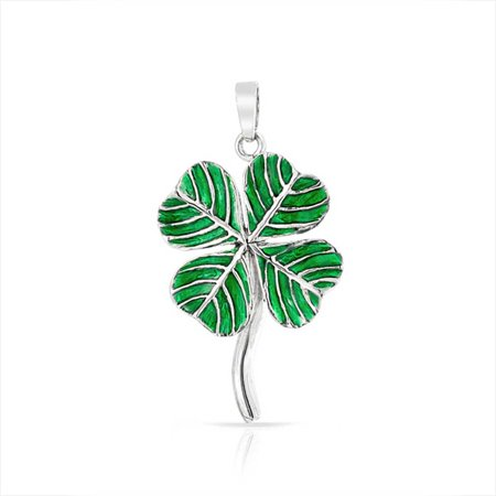 Green Claddagh Charm - Irish Shamrock Green Good Luck Charm 4 Leaf Clover Pendant Necklace For Women For Teen 925 Sterling Silver