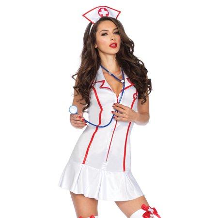 Leg Avenue Women's 3 Piece Head Nurse Costume, White/Red, Small/Medium - Leg Avenue Nurse Costume