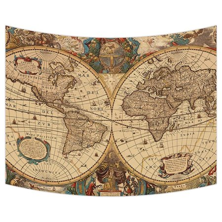 Gckg World Map Tapestry Vintage Retro World Map Wall Hanging Wall