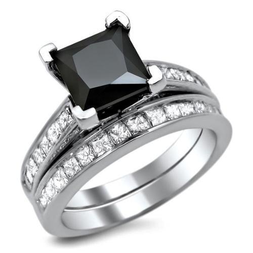 Noori 14k White Gold 2 1/2ct TDW Certified Black Diamond Engagement Ring Bridal Set Size- 6.5