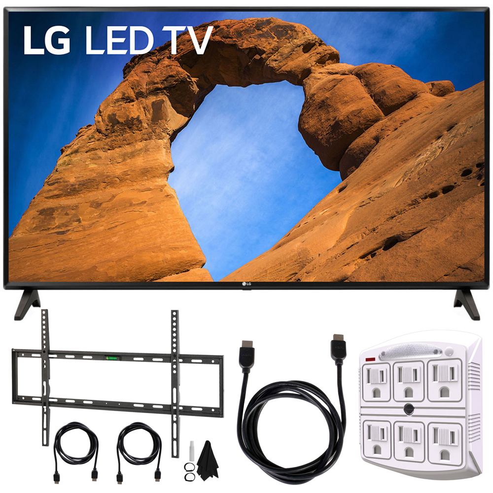 "LG 49LK5700PUA 49""-Class HDR Smart LED Full HD 1080p TV (2018) + Flat Wall Mount Kit Ultimate Bundle for 45-90 inch TVs + 6ft HDMI Cable + SurgePro 6-Outlet Surge Adapter w/ Night Light"