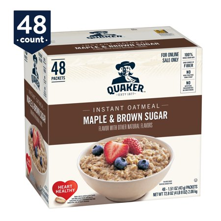 Quaker Instant Oatmeal, Maple & Brown Sugar, 48 Packets