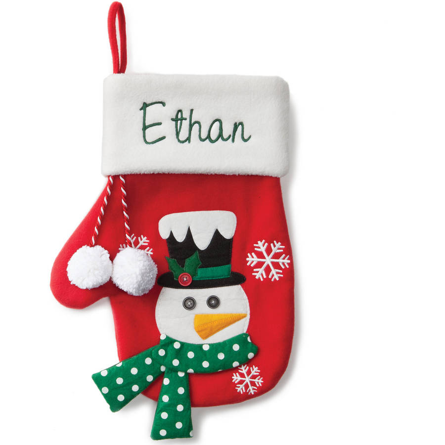 Personalized Mitten Stocking, Snowman