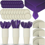 Paper Tableware Set for 24 - Cream & Purple - Dinner and Dessert Plates, Cups, Napkins, Cutlery (Spoons, Forks, Knives), and Tablecloths - Full Two-Tone Party Supplies Pack