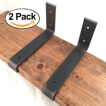 2 Pack   7 25  L X 4  H Lip Handcrafted Rustic Reclaimed Metal Shelf Wall Brackets