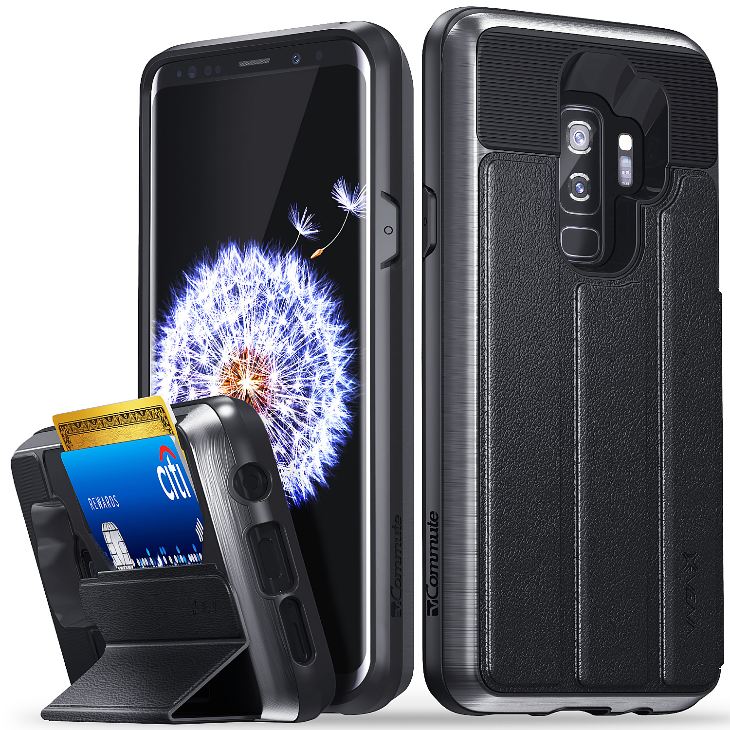 Galaxy S9 Plus Wallet Case, Vena Flip Leather Cover with KickStand for Samsung Galaxy S9+ Plus (Space Gray/Black)