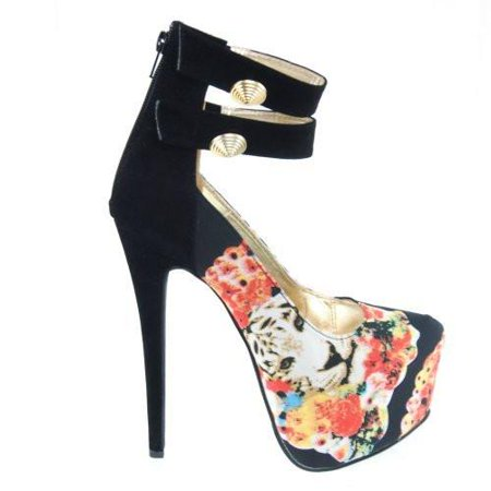 Padma02 by Fahrenheit, Black Women Animal Floral Print Strap Satin Stiletto Pump Platform Heels