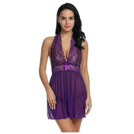 Women's Clothing Provided Women Nightgown Robe Lace Sleepwear Sexy Lingerie G-string Xmas Gift Black-m