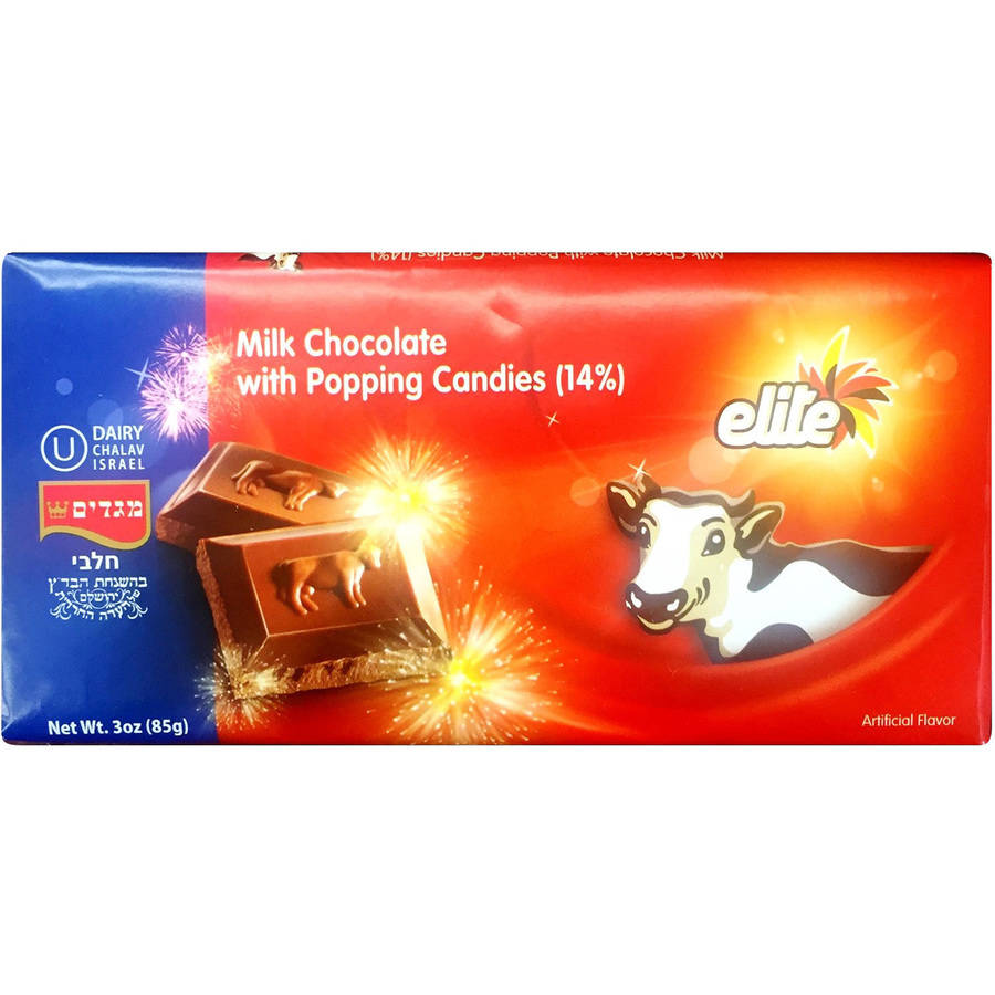 Elite Milk Chocolate with Popping Candies Candy Bar, 3 oz by