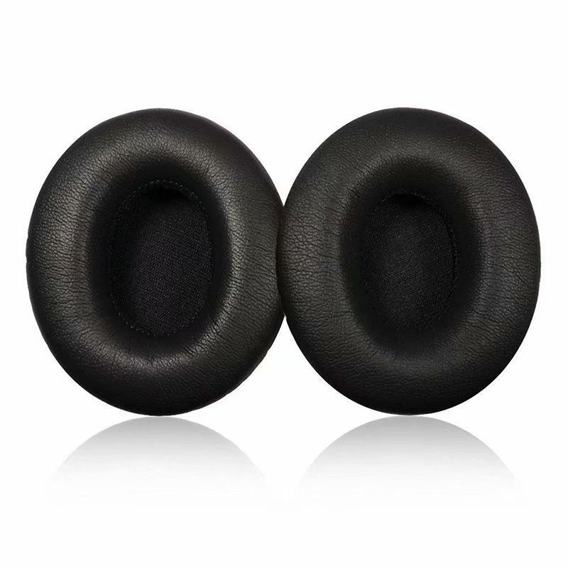 1 Pair Memory Foam Ear Cover Protein Leather Ear Cushion Earpads Replacement for Beats Solo 2.0 Wireless Headphone Black