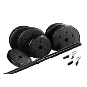 US Weight Duracast 55 lb. Barbell Weight Set with Two 5 lb. Weights, Four 10 lb. Weights, One 3-Piece Threaded Barbell Bar, Two Locking Spring Clips