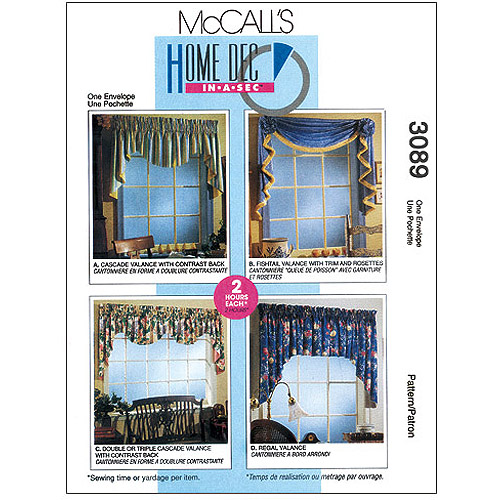 McCall's Pattern 2 Hour Valance Classics, All Sizes in 1 Envelope