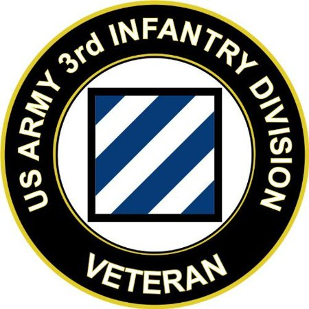 """3.8"""" US Army 3rd Infantry Division Veteran Decal Sticker"""