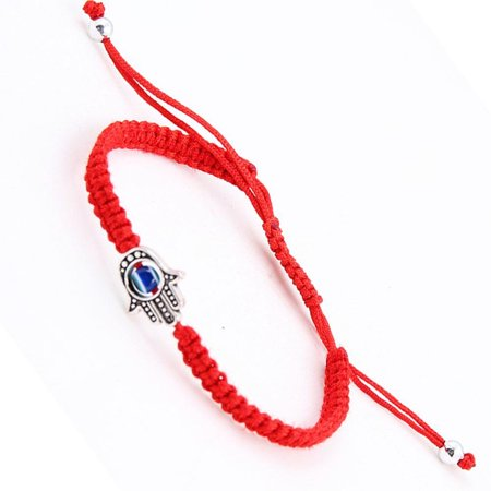 ON SALE - Braided Hamsa Blue Evil Eye Adjustable Bracelet Red