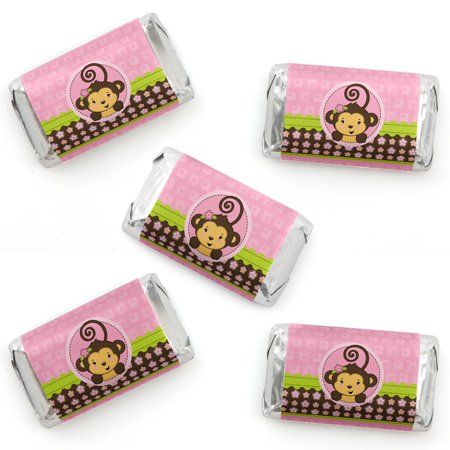 Pink Monkey Girl - Mini Candy Bar Wrapper Stickers - Baby Shower or Birthday Party Small Favors - 40 Count - Girl Monkey Baby Shower