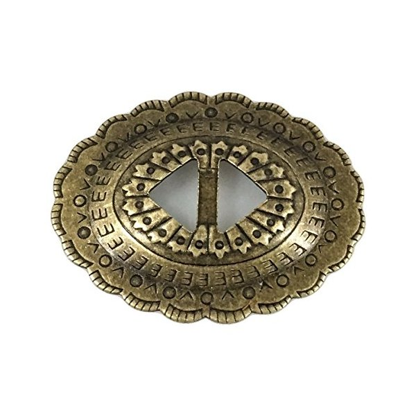 """Conchos Mixed Finishes Western 1 1/4"""" Oval; Scalloped Style Slotted - Various Colors and Sizes (20 Pieces, Antique Brass)"""