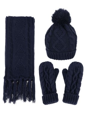 7228e5ae0e0b0 Product Image ANDORRA - 3 in 1 - Soft Warm Thick Cable Knitted Hat Scarf    Gloves Winter