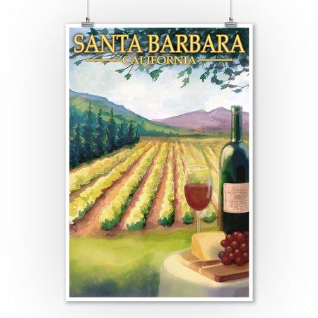 Santa Barbara, California - Vineyard Scene - Lantern Press Poster (9x12 Art Print, Wall Decor Travel Poster)