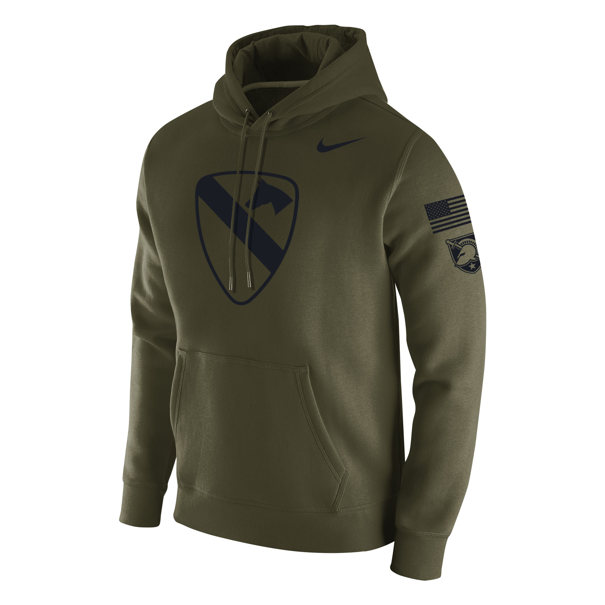 Men's Nike Green Army Black Knights 1st Cavalry Division Patch Hoodie
