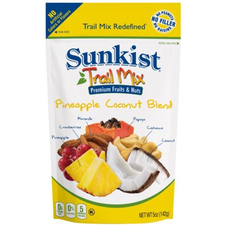 Fruit Nut Mix ((4 Pack) Sunkist Pineapple Coconut Premium Fruit & Nut Trail Mix, 5 oz per bag)