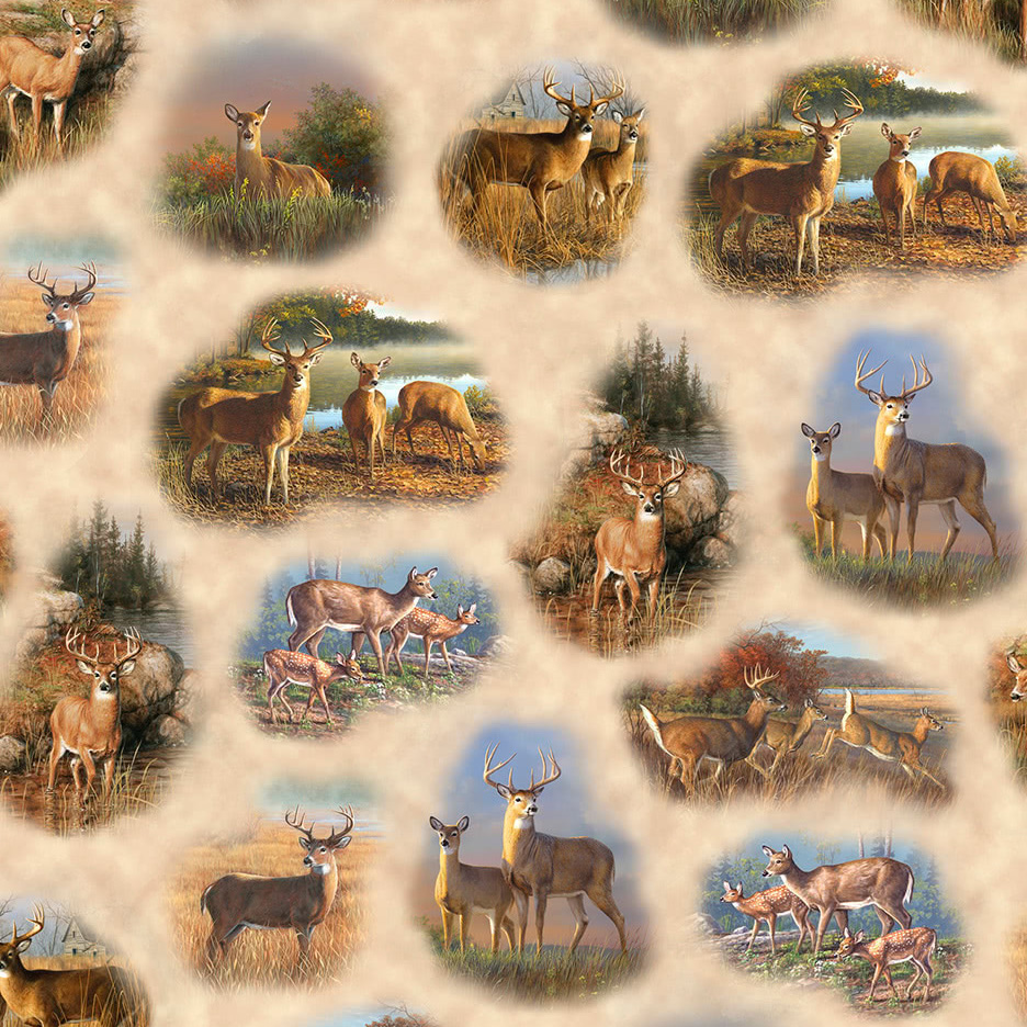 Quilting Treasures Deer Valley Deer Vignettes Cream