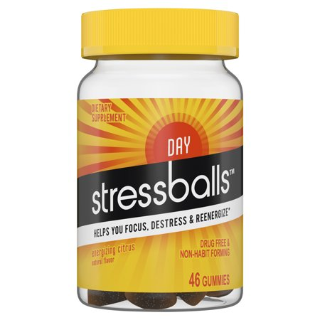 Stressballs DAY Stress Supplement to Help You Destress and Focus,* 46 Gummies with an Herbal Blend of Ashwagandha, Lemon Balm and Ginseng